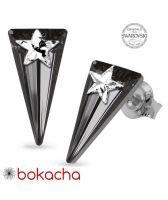 Обеци STAR, украсени със SWAROVSKI® SPIKE 18мм Silver Night** AB - Черен, Код PR E579