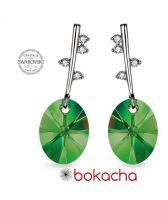 Обеци POINT Swarovski® Oval Emerald - Зелен, Код PR E489