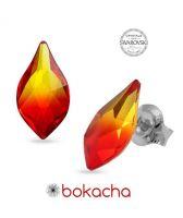 Обеци украсени със SWAROVSKI® FLAME Fire Opal 10 мм,Червен цвят, Код PR E599