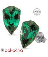 Обеци с кристали Swarovski® SLIM TRILLIANT на винт в Emerald - Зелен цвят, Код PR E632
