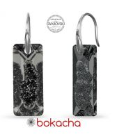 Обеци декорирани със SWAROVSKI® Growing Crystal Rectangle в Silver Night** AB - Черен цвят, Код PR E558