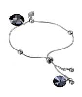 Гривна с кристали Swarovski® LEAF 14мм Silver Night** AB - Черен, Код PR B451