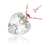 Колие с кристали Swarovski® GOLD HEART Crystal 14 мм, Бял цвят, Код PR N433