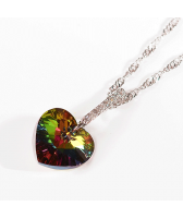Колие LINE SWAROVSKI® HEART Vitrail Medium** VM 14 мм, Зелен цвят, Код PR N434