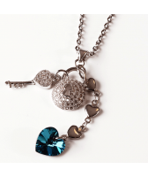 Колие с кристали Swarovski® HEART SECRET Bermuda Blue BBL 10 мм, Син цвят, Код PR N436