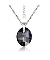 Колие с кристали Swarovski® LEAF 14мм Silver Night** AB - Черен, Код PR N050