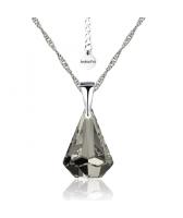 Колие с кристали Swarovski® RAINDROP 14мм  Satin**, Прозрачно черен, Код PR N453B