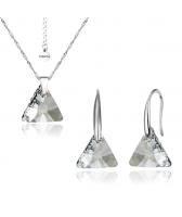 Бижута с кристали Swarovski® TRIANGLE, Колие и обеци Crystal**, Бял, 12мм, Код PR S353-A