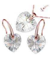 Бижута с кристали Swarovski® GOLD HEART Crystal, Бял цвят, Колие и обеци (14 и 10 мм),  Код PR S433