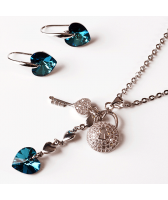 Бижута с кристали Swarovski® HEART SECRET Bermuda Blue BBL, Син, Колие и обеци 10 мм,  Код PR S436