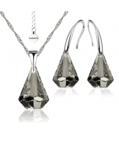 Бижута с кристали Swarovski® RAINDROP 14мм Satin**, Прозрачно черен, Колие  и Обеци 14мм,  Код PR S453B