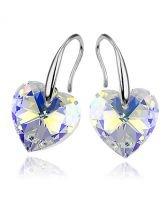 Обеци с кристали Swarovski® HEART Crystal AB 10 мм, Бял цвят Код PR E001B