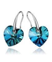 Обеци с кристали Swarovski® HEART Bermuda Blue BBL 10 мм, Син цвят, Код PR E002B