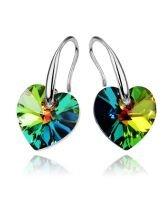 Обеци с кристали Swarovski® HEART Vitrail Medium** VM 10 мм, Зелен цвят, Код PR E004B