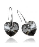Обеци с кристали Swarovski® BIG HEART Silver Night** AB - Черен 14 мм, Код PR E008B