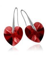 Обеци с кристали Swarovski® BIG HEART Light Siam АВ 14 мм, Червен цвят, Код PR E035B