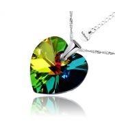 Колие с кристали Swarovski® HEART Vitrail Medium** VM 14 мм, Зелен цвят, Код PR N004B