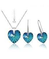 Бижута с кристали Swarovski® BIG HEART Bermuda Blue BBL, Син, Колие и обеци 14 мм,  Код PR S032