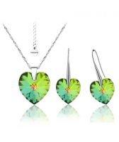 Бижута с кристали Swarovski® BIG HEART Vitrail Medium** VM, Зелен, Колие и обеци 14 мм,  Код PR S034