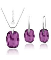 Бижута с кристали Swarovski® GRAPHIC Ametyst АВ, Лилав Аметист, Колие и Обеци 19мм,  Код PR S067A