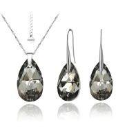 Бижута с кристали Swarovski® BIG PEAR DROP Silver Night** AB - Черен, Колие и Обеци 22мм, Код PR S118
