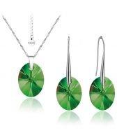 Бижута с кристали Swarovski® OVAL 12мм Emerald**, Зелен, Колие и Обеци, Код PR S154