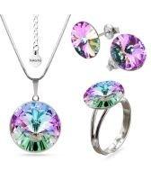 Бижута с кристали Swarovski® RIVOLI Vitrail Light** VL- Лилаво-зелен, Колие, обеци и пръстен (12мм, 8мм и 12мм),  Код PR S023A-3