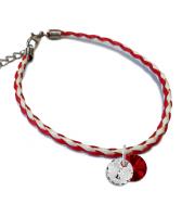 Гривна МАРТЕНИЦА SWAROVSKI® RIVOLI CRYSTAL & SIAM, бял и червен цвят, Код PR B445