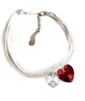 Гривна МАРТЕНИЦА SWAROVSKI® HEART CRYSTAL & SIAM, бял и червен цвят, Код PR B444