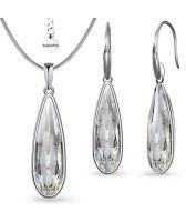 Бижута  с кристали Swarovski® RAINDROP 30мм, Crystal, Бял, Колие с обеци, Код PR S570B