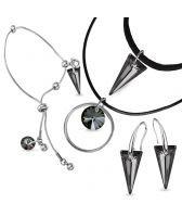 Бижута Swarovski® SPIKE Silver Night** AB - Черен, Чоукър, Обеци и Гривна 18мм, Код PR S511-3