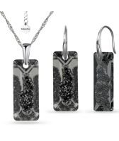 Бижута с кристали SWAROVSKI® Growing Crystal Rectangle в Silver Night** AB - Черен, Колие и обеци ръчна изработка, Код PR S558