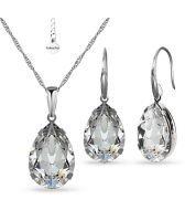 Бижута  с кристали Swarovski® PEAR 14мм Crystal, Бял цвят, Колие и обеци, Код PR S569