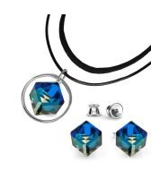 Бижута с кристали Swarovski® CUBE, Bermuda Blue BBL, Син цвят, Чоукър и Обеци (8 и 6мм), Код PR S506