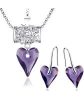 Бижута FLOWER WAY SWAROVSKI® WILD HEART Tanzanite**, Лилав, Колие и Обеци (17 и 12мм),  Код PR S469