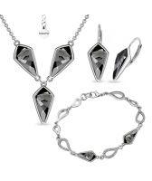 Бижута с кристали Swarovski® KITE Колие, Обеци с английско закопчаване и Гривна 14мм, Silver Night** AB - Черен, Код PR S607B-3