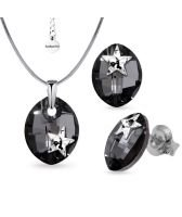 Бижута STAR декорирани със SWAROVSKI® LEAF Silver Night** AB crystal - Черен, Колие  и Обеци 14мм,  Код PR S550