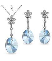 Бижута FLOWER SWAROVSKI® OVAL Blue Shade**, Син, Колие и обеци 12мм, Код PR S477