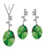 Бижута POINT Swarovski®  Oval Emerald - Зелен, Колие и Обеци, Код PR S489
