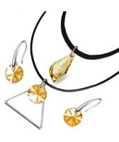 Бижута с кристали Swarovski® SWAROVSKI® POLYGON DROP Golden Shadow, Натурален, Чоукър и Обеци (17 и 8мм), Код PR S524