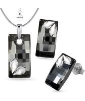 Бижута STAR декорирани с кристали Swarovski® URBAN 20мм Silver Night** AB - Черен, Колие и Обеци, Код PR S580