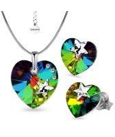 Бижута STAR с кристали SWAROVSKI® HEART Vitrail Medium** VM, Зелен цвят, Колие и обеци (14 и 10 мм),  Код PR S575