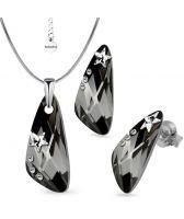 Бижута STAR декорирани с камъни SWAROVSKI® WING Silver Night** AB - Черен, Колие и Обеци, 23мм, Код PR S554