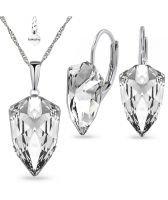 Бижута SWAROVSKI® SLIM TRILLIANT Crystal, Бял цвят, Колие и обеци с английско закопчаване, ръчна изработка, Код PR S547B
