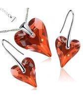 Бижута с кристали Swarovski® WILD HEART Red Magma**,Червен, Колие и Обеци (17 и 12мм),  Код PR S411
