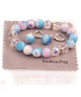 Бижута с естествени камъни ПЪСТРА ЕСЕН гривна и обеци, синьо-розово, UB S368