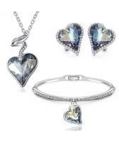 Колие, обеци и гривна HEART IN LOVE, Бижута GLORY SWAROVSKI® Crystals, Код ZD S019-3