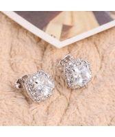 Обеци ПЕРФЕКТА с кристален цирконий и 18К Бяло Злато, Колекция Zerga Brand ZG E019