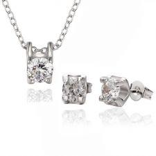 Колие и Обеци ВЕЛЛА с Австрийски кристали и 18К Бяло Злато, Колекция Zerga Brand, 18KGFNL S83091
