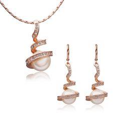 Обици и колие - НЕЖНА ПЕРЛА , Zerga Jewelry. Луксозен дамски комплект с розово златно покритие 18KG S05420